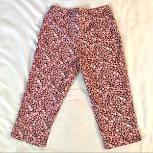 Chaus Pink Daisy Capri with Side Zipper Stretch